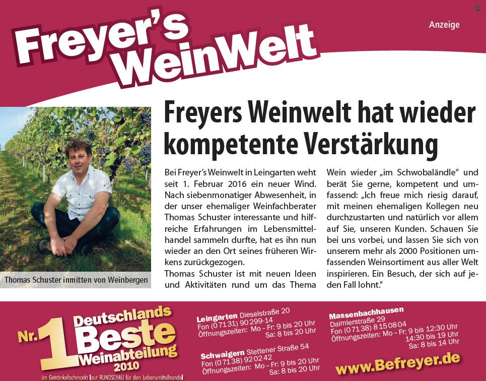 Freyers Weinwelt hat wieder kompetente Verstärkung